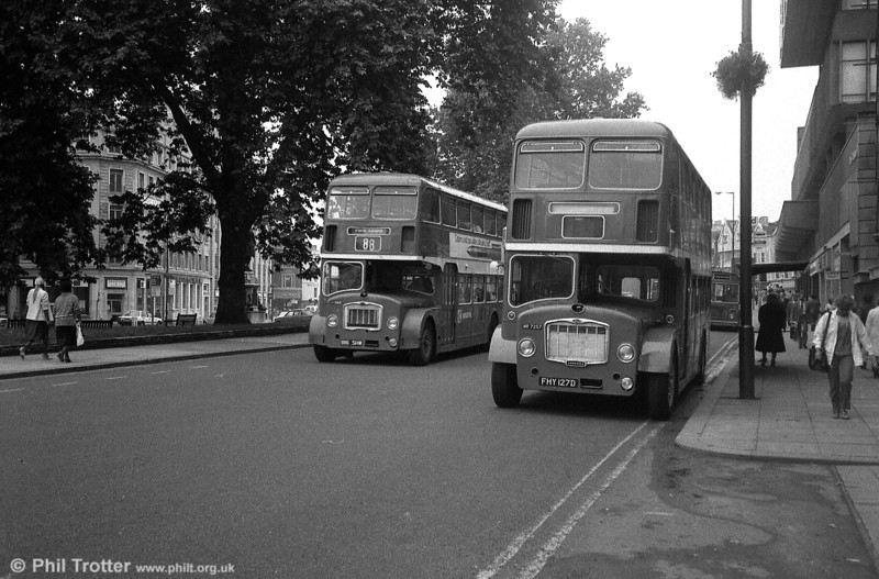 A pair of Bristol Omnibus FLF6Gs, 7173 (816 SHW) and 7257 (FHY 127D) - both ECW H38/32F - photographed at the Centre, shortly before the type was withdrawn from service.