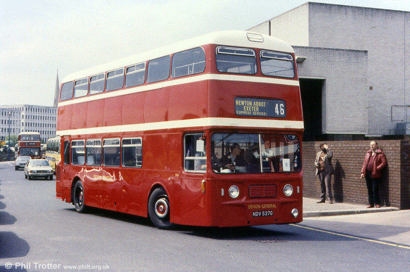 Restored Devon General 537 (NDV 537G) is a Leyland Atlantean PDR1/1/MCW H43/32F.