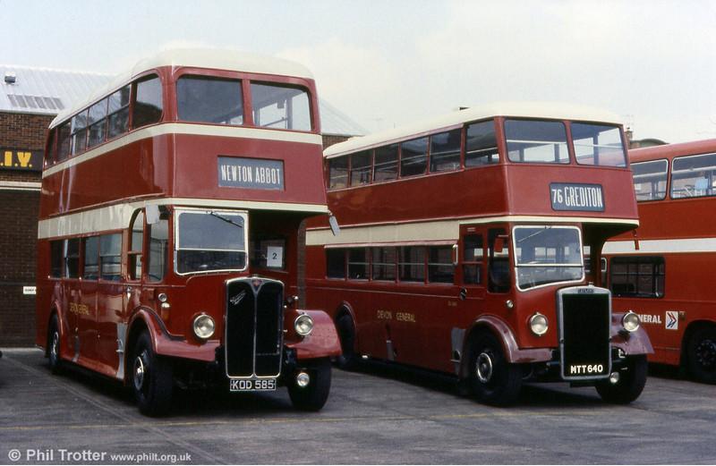 Devon General DR585, a 1949 AEC Regent III 9612E2495/Weymann H30/26R and Leyland PD2 640 (MTT 640).