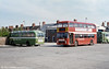Devon General 568 (MOD 568P), a 1976 Bristol VRT/ECW H43/32F. Also in this view is Bristol MW6G/ECW 620 DDV, one on many former ECW coaches converted for local bus use by National Bus.