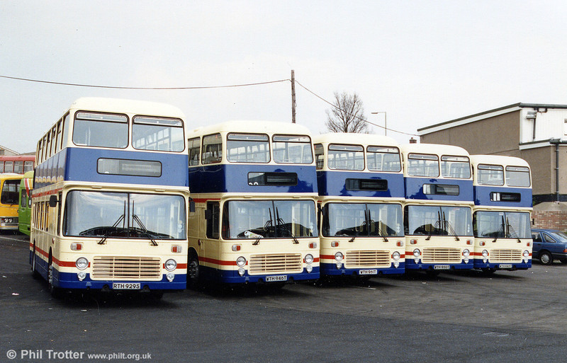 Five of the ten SWT Bristol VRTs which passed to Western National in 1990. Former SWT fleet nos. (left to right) are: 929, 946, 961, 950 and 945.
