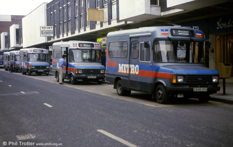 February 1986 and Ford Transit minibuses take over at Gloucester. Leading is Alexander B16F bodied 648 (C648 SFH).