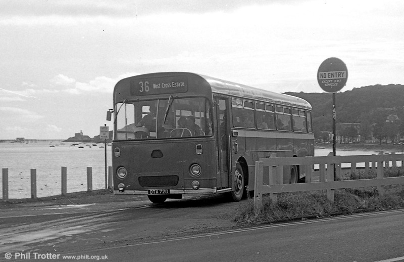 72 (OTA 72G), a 1969 AEC Reliance/Marshall B41F, seen at Oystermouth while on hire to South Wales Transport.