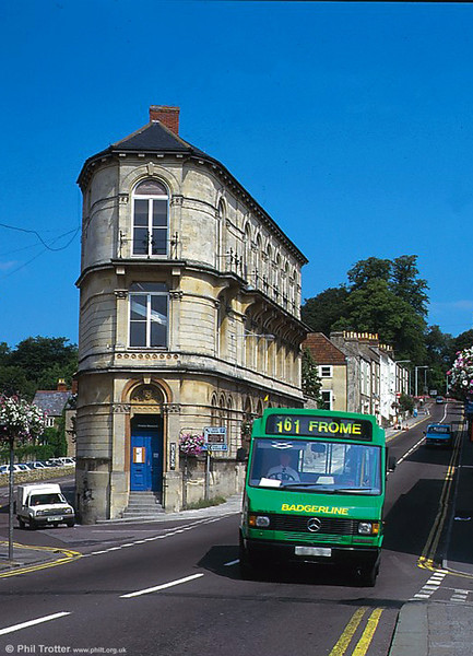 An unidentified Badgerline Mercedes/Reeve Burgess minibus on service 161 from Wells to Frome.