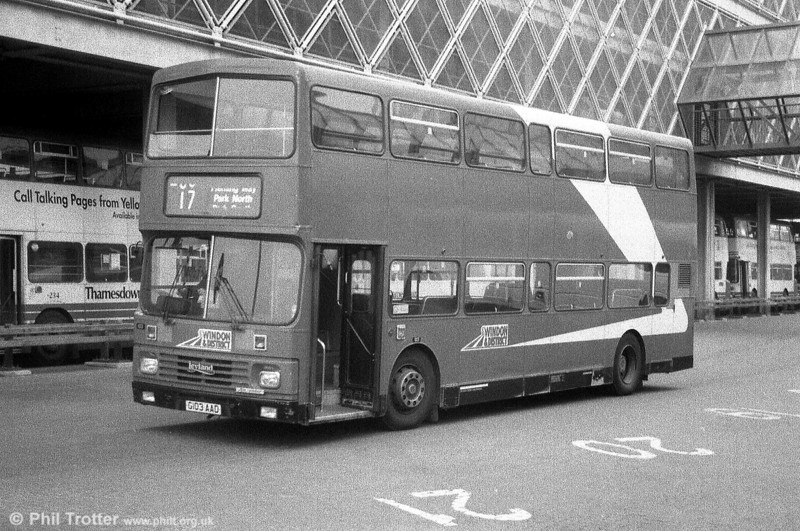 Seen at Swindon is Cheltenham & Gloucester 103 (G103 AAD), a 1990 Leyland Olympian/Alexander H51/36F.