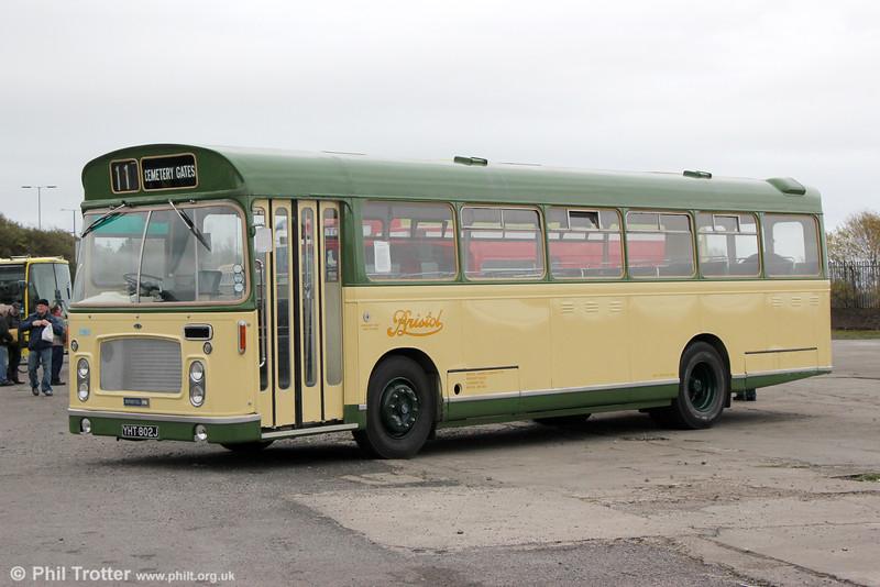Bristol Omnibus Bristol RESL6L/ECW B43F 516 (YHT 802J) at Swansea Bus Museum on 26th October 2014.  It was new to Bristol Omnibus in 1970.
