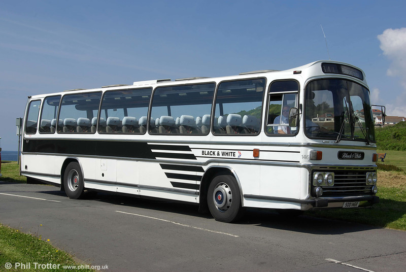 SDD 146R, a 1978 Leyland Leopard/Plaxton C53F preserved in Blak & White livery at Mumbles on 14th June 2008.