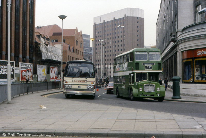 1966 Bristol FLF6G/ECW H38/32F 7259 (FHY 129D) passes D Coaches Swansea broken down Bedford YRT/Plaxton C53F UWX 663L. The latter had been new in 1973 to Store, Stainforth.