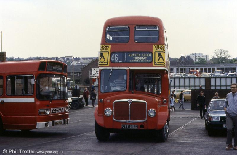 Devon General 518 (CTT 518C), 1965 AEC Regent V at Exeter.