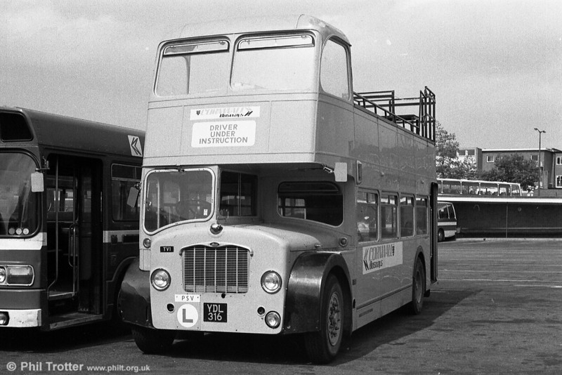 TV1 (YDL 316), a training vehicle/tree lopper which was a Bristol FS6G/ECW H33/27RD which had been new to Southern Vectis in 1962 as their 571.