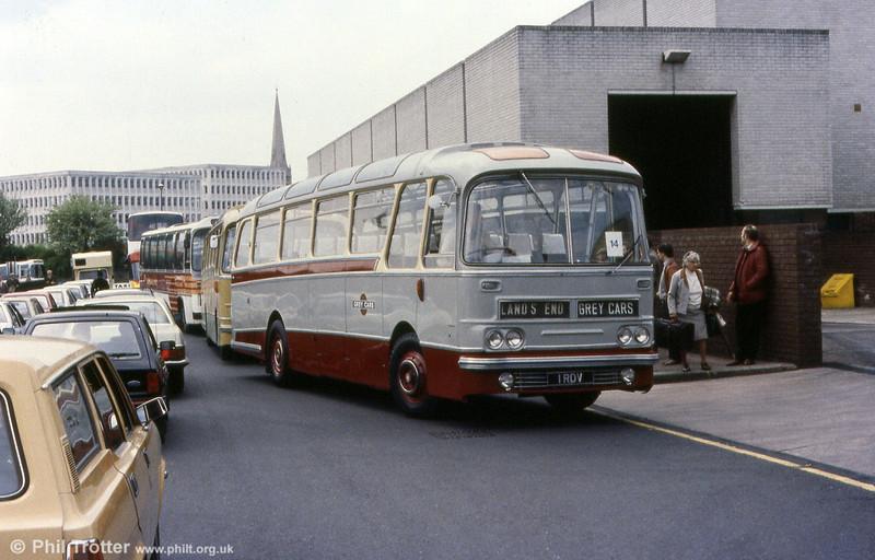 Devon General/Grey Cars 1 (1 RDV), a 1964 AEC Reliance 470 2MU3RA4970 with Harrington Cavalier C41F bodywork at Exeter.
