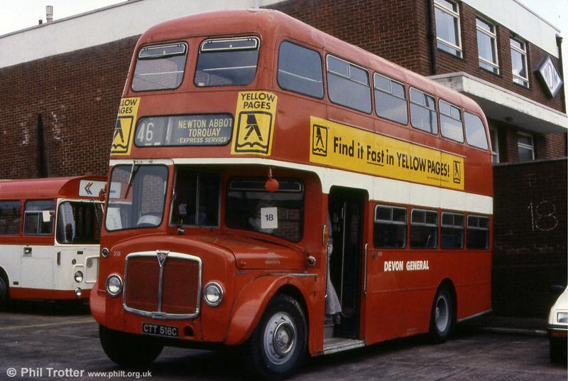 Devon General 518 (CTT 518C), a 1965 AEC Regent V 2MD3RA613/Willowbrook H33/26F.