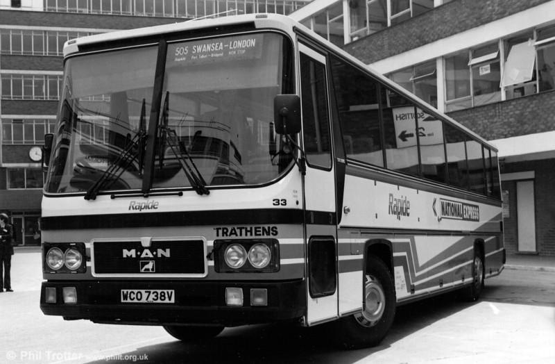 Trathens 33 (WCO 738V), a MAN SR280/C53F photographed at Victoria Coach Station.