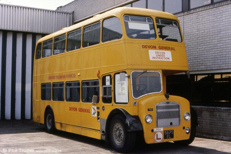 Devon General's Exeter training bus, TV2 (5675 EL). This was a 1960 Bristol FS6G/ECW H33/27RD, originally Hants & Dorset no. 1448.