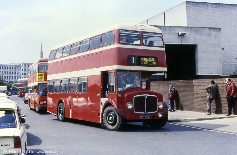 Devon General 513 (CTT 513C), a 1965 AEC Regent V 2D3RA1652/Park Royal H40/29F.