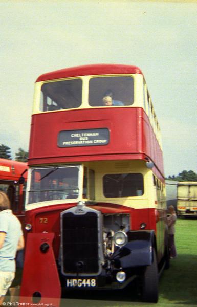 Cheltenham & District 72 (HDG 448), a 1949 Albion Venturer/Metro-Cammell H56R, representing Cheltenham's Red & White phase of ownership.