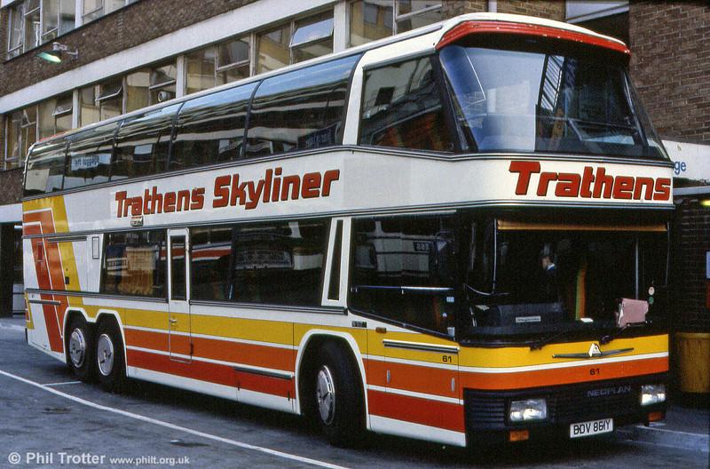 Trathens 61 (BDV 861Y) was another Neoplan Skyliner.