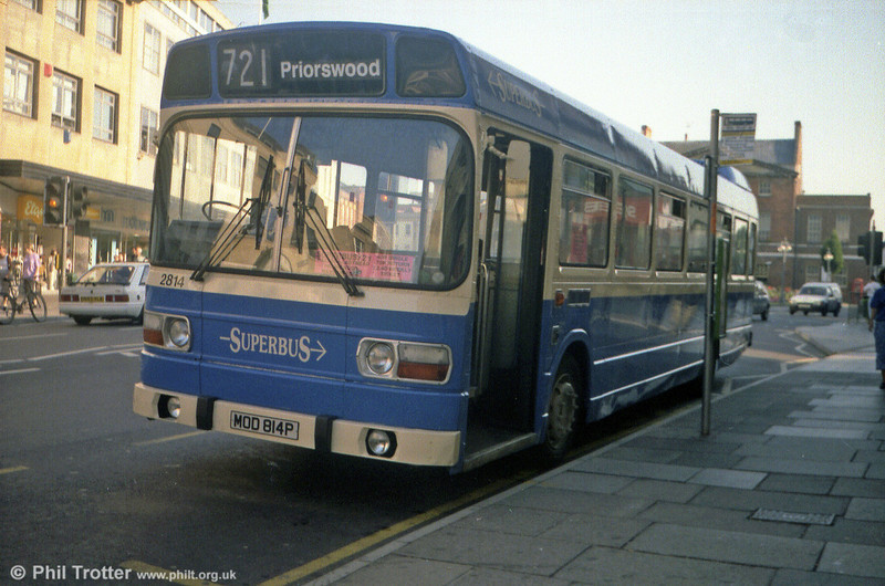 Formerly Western National 2814 (MOD 814P), this Leyland National B50F is seen at Taunton.