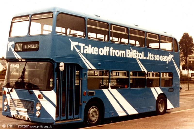 Western National 1165 (AFJ 772T), a 1979 Bristol VRT/ECW H43/31F seen in an overall advert for Bristol Airport.