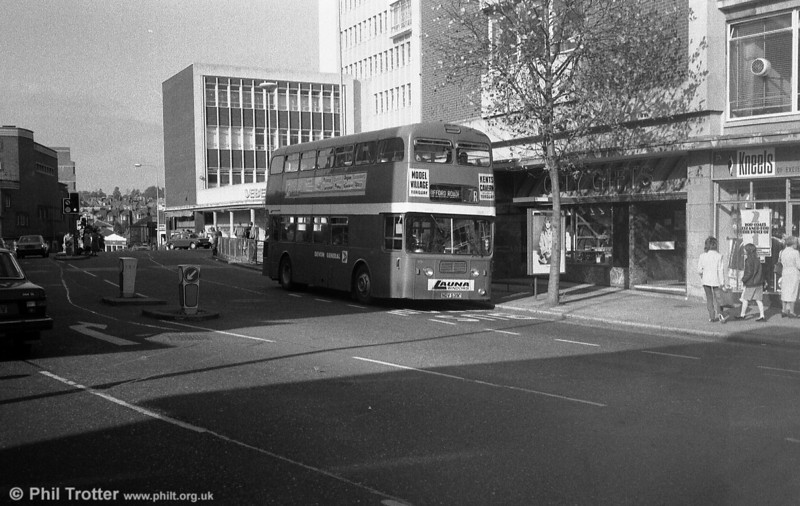 535 (NDV 535G), a 1968 Leyland atlantean PDR1/1/MCW H43/32F seen in service at Exeter.