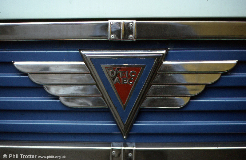 The grille badge of 6049 LJ; a modified version of that normally seen on AEC Reliances.