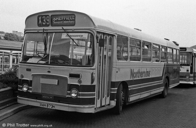 Northern Bus 2103, a 1970 Bristol RELL6G/ECW DP50F which had begun life as Eastern Counties RLE873 seen at Sheffield Bus Station.