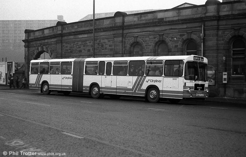 SYPTE MAN SG192R/Goppel AB59D 2003 (DAK 303V) at Sheffield Station in December 1979.