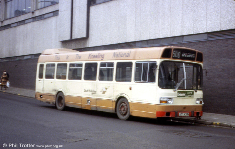 South Yorkshire PTE 88 (JDT 438N), a 1975 Leyland National B40D, fitted with a 'kneeling' mechanism at Sheffield in December 1979.