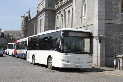 SV12BVC is the 1225 308 for Aberchirder at Inverurie Town Hall 22 May 2012.   It's a King Long XMQ6900J.....   Catchy!