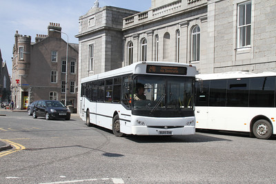BU05EHB is a Bains BMC Falcon and is seen at Inverurie Town Hall on a 240 for Oldmeldrum