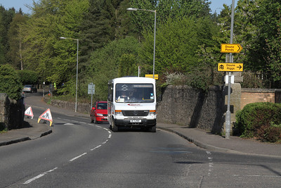 W176MWF is a Merc0814 on the morning schools C66 for Doune Primary School on Balkerach Street, Doune