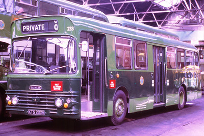 233 was one of a batch of unusual single deck Fleetlines - inasmuch as Fleetlines are usually deckers.   The bodywork didn't last and some were rebodied by the then Tayside Public Transport.   Used to stand with the driver a lot, and was a dab hand at the door controls too!