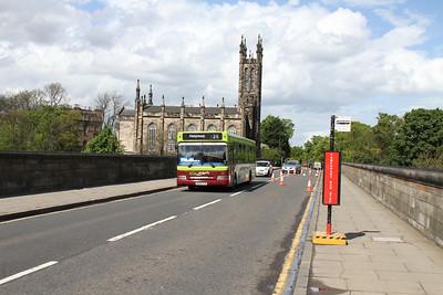 57 passes the temporary bus bay on Dean Bridge