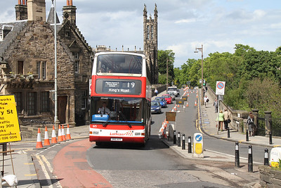 615 comes up the wrong side of the road as she exits Dean Bridge