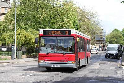 "Edinburgh Coach Lines ""spare"" for the 13 is an ex London dart which retains her two door configuration and has reverted to her original livery, the advertising wrap having been removed"