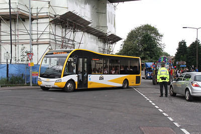 MH06EMH passes under the Road Bridge in the Ferry Fair parade at South Queensferry