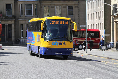 KXI244 is one of three vehicles in use on the 909 which operates from Stirling University to St Andrew Square bus station, seen here diverted to St Andrew Square proper as a result of damage to the pedestrian entrance due to high winds