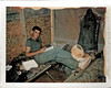 TB14 - Tom Bush writing in barracks at basecamp