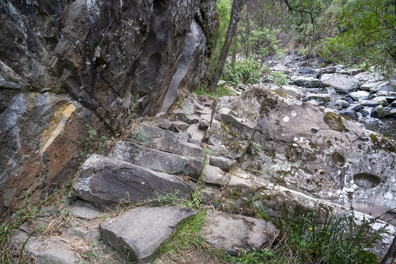 A rocky part of the track