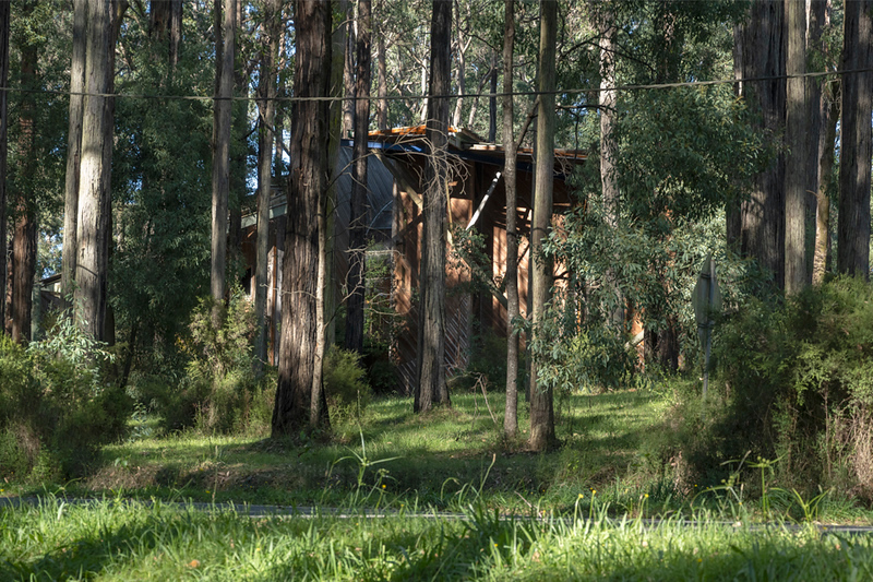 The view from across the road - the building is well camouflaged amongst the trees
