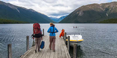 Heading to the boat for the trip across to Coldwater Hut