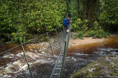 Rachel on the swingbridge over Lawrence Stream