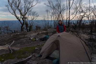 Rachel at our camp near the cliff edge