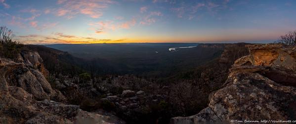 Sunset over the Wanganderry Walls and Lake Burragorang