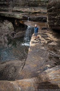 Rachel at the falls near Bollards Cave