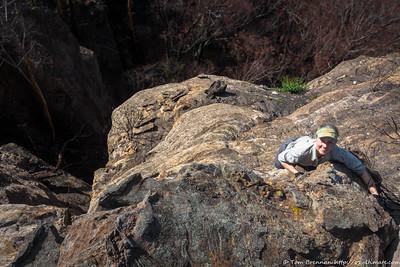 Rachel traversing above the next tricky spot