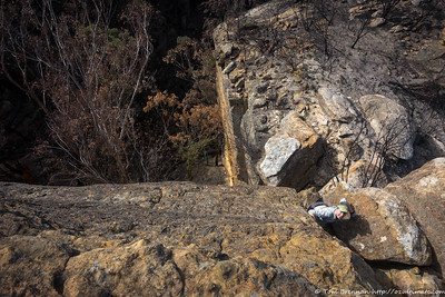 The first tricky spot - a steep chute above a big drop