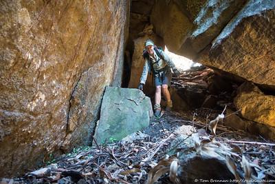 Heading down under the boulder