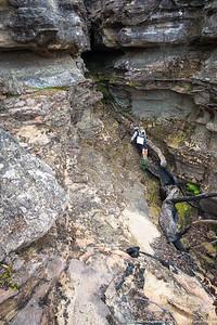 Rachel dropping off the ridge