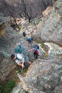 Jo scrambling on the ridge